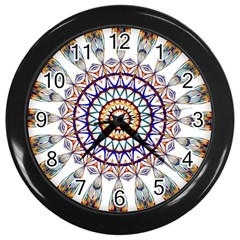 Circle Star Rainbow Color Blue Gold Prismatic Mandala Line Art Wall Clocks (black) by Alisyart