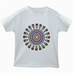 Circle Star Rainbow Color Blue Gold Prismatic Mandala Line Art Kids White T Shirts by Alisyart