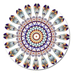 Circle Star Rainbow Color Blue Gold Prismatic Mandala Line Art Magnet 5  (round) by Alisyart