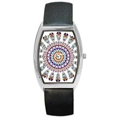 Circle Star Rainbow Color Blue Gold Prismatic Mandala Line Art Barrel Style Metal Watch by Alisyart