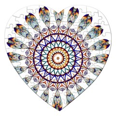 Circle Star Rainbow Color Blue Gold Prismatic Mandala Line Art Jigsaw Puzzle (heart) by Alisyart