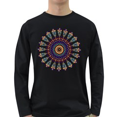Circle Star Rainbow Color Blue Gold Prismatic Mandala Line Art Long Sleeve Dark T-shirts by Alisyart