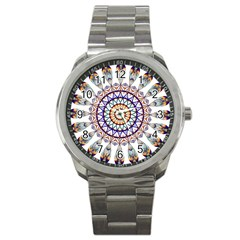 Circle Star Rainbow Color Blue Gold Prismatic Mandala Line Art Sport Metal Watch by Alisyart