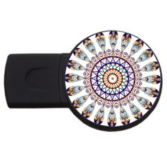 Circle Star Rainbow Color Blue Gold Prismatic Mandala Line Art Usb Flash Drive Round (4 Gb) by Alisyart