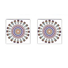 Circle Star Rainbow Color Blue Gold Prismatic Mandala Line Art Cufflinks (square) by Alisyart