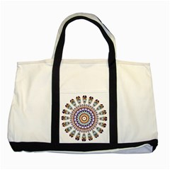 Circle Star Rainbow Color Blue Gold Prismatic Mandala Line Art Two Tone Tote Bag by Alisyart