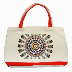 Circle Star Rainbow Color Blue Gold Prismatic Mandala Line Art Classic Tote Bag (red) by Alisyart