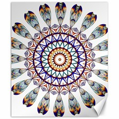 Circle Star Rainbow Color Blue Gold Prismatic Mandala Line Art Canvas 8  X 10  by Alisyart