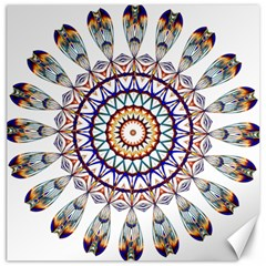 Circle Star Rainbow Color Blue Gold Prismatic Mandala Line Art Canvas 12  X 12   by Alisyart