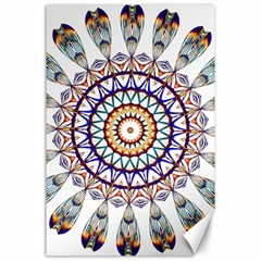 Circle Star Rainbow Color Blue Gold Prismatic Mandala Line Art Canvas 24  X 36