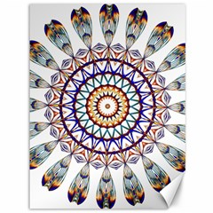 Circle Star Rainbow Color Blue Gold Prismatic Mandala Line Art Canvas 36  X 48