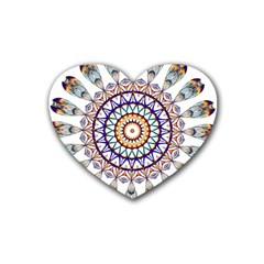 Circle Star Rainbow Color Blue Gold Prismatic Mandala Line Art Rubber Coaster (heart)