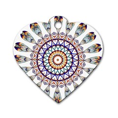 Circle Star Rainbow Color Blue Gold Prismatic Mandala Line Art Dog Tag Heart (one Side)