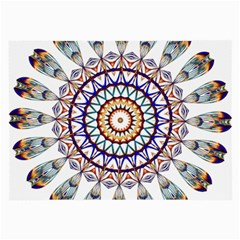 Circle Star Rainbow Color Blue Gold Prismatic Mandala Line Art Large Glasses Cloth (2 Side)
