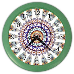 Circle Star Rainbow Color Blue Gold Prismatic Mandala Line Art Color Wall Clocks