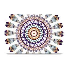 Circle Star Rainbow Color Blue Gold Prismatic Mandala Line Art Plate Mats
