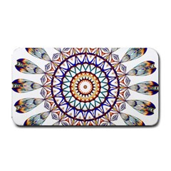 Circle Star Rainbow Color Blue Gold Prismatic Mandala Line Art Medium Bar Mats