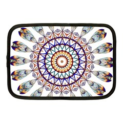 Circle Star Rainbow Color Blue Gold Prismatic Mandala Line Art Netbook Case (medium)