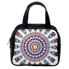 Circle Star Rainbow Color Blue Gold Prismatic Mandala Line Art Classic Handbags (one Side)