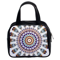 Circle Star Rainbow Color Blue Gold Prismatic Mandala Line Art Classic Handbags (2 Sides)