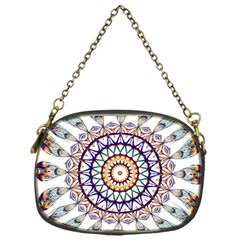 Circle Star Rainbow Color Blue Gold Prismatic Mandala Line Art Chain Purses (one Side)