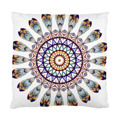 Circle Star Rainbow Color Blue Gold Prismatic Mandala Line Art Standard Cushion Case (one Side)