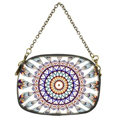 Circle Star Rainbow Color Blue Gold Prismatic Mandala Line Art Chain Purses (two Sides)