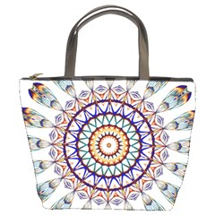 Circle Star Rainbow Color Blue Gold Prismatic Mandala Line Art Bucket Bags