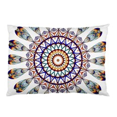 Circle Star Rainbow Color Blue Gold Prismatic Mandala Line Art Pillow Case by Alisyart
