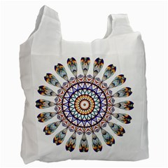 Circle Star Rainbow Color Blue Gold Prismatic Mandala Line Art Recycle Bag (one Side) by Alisyart