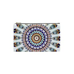 Circle Star Rainbow Color Blue Gold Prismatic Mandala Line Art Cosmetic Bag (small)