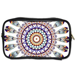 Circle Star Rainbow Color Blue Gold Prismatic Mandala Line Art Toiletries Bags by Alisyart