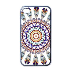 Circle Star Rainbow Color Blue Gold Prismatic Mandala Line Art Apple Iphone 4 Case (black) by Alisyart