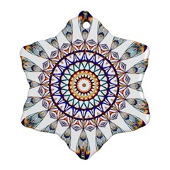 Circle Star Rainbow Color Blue Gold Prismatic Mandala Line Art Snowflake Ornament (two Sides) by Alisyart