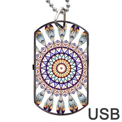 Circle Star Rainbow Color Blue Gold Prismatic Mandala Line Art Dog Tag Usb Flash (two Sides)