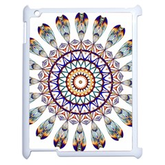 Circle Star Rainbow Color Blue Gold Prismatic Mandala Line Art Apple Ipad 2 Case (white) by Alisyart