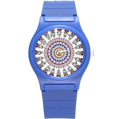 Circle Star Rainbow Color Blue Gold Prismatic Mandala Line Art Round Plastic Sport Watch (s) by Alisyart