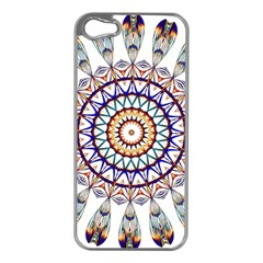 Circle Star Rainbow Color Blue Gold Prismatic Mandala Line Art Apple Iphone 5 Case (silver) by Alisyart