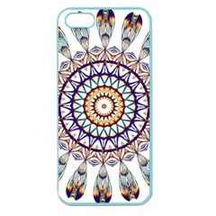 Circle Star Rainbow Color Blue Gold Prismatic Mandala Line Art Apple Seamless Iphone 5 Case (color) by Alisyart
