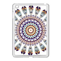 Circle Star Rainbow Color Blue Gold Prismatic Mandala Line Art Apple Ipad Mini Case (white) by Alisyart