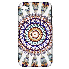 Circle Star Rainbow Color Blue Gold Prismatic Mandala Line Art Apple Iphone 4/4s Hardshell Case (pc+silicone)