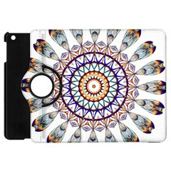 Circle Star Rainbow Color Blue Gold Prismatic Mandala Line Art Apple Ipad Mini Flip 360 Case by Alisyart