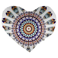 Circle Star Rainbow Color Blue Gold Prismatic Mandala Line Art Large 19  Premium Heart Shape Cushions