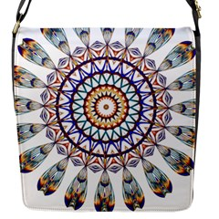Circle Star Rainbow Color Blue Gold Prismatic Mandala Line Art Flap Messenger Bag (s) by Alisyart