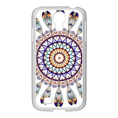 Circle Star Rainbow Color Blue Gold Prismatic Mandala Line Art Samsung Galaxy S4 I9500/ I9505 Case (white) by Alisyart