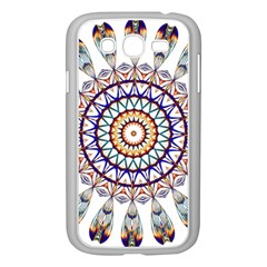 Circle Star Rainbow Color Blue Gold Prismatic Mandala Line Art Samsung Galaxy Grand Duos I9082 Case (white)