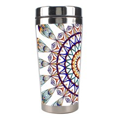Circle Star Rainbow Color Blue Gold Prismatic Mandala Line Art Stainless Steel Travel Tumblers