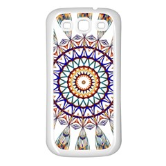Circle Star Rainbow Color Blue Gold Prismatic Mandala Line Art Samsung Galaxy S3 Back Case (white)