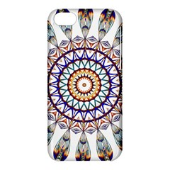 Circle Star Rainbow Color Blue Gold Prismatic Mandala Line Art Apple Iphone 5c Hardshell Case by Alisyart