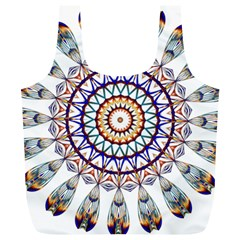 Circle Star Rainbow Color Blue Gold Prismatic Mandala Line Art Full Print Recycle Bags (l)  by Alisyart